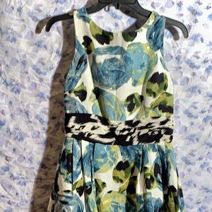 Nordstrom, Talbots off white with blue flower dres